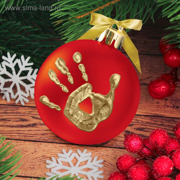 """Новогодний шар """"Отпечаток детской ручки"""" красный с золотом"""