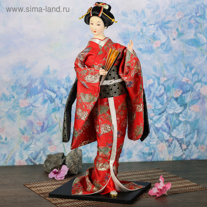 """Кукла коллекционная """"Гейша в красном кимоно с веером"""""""