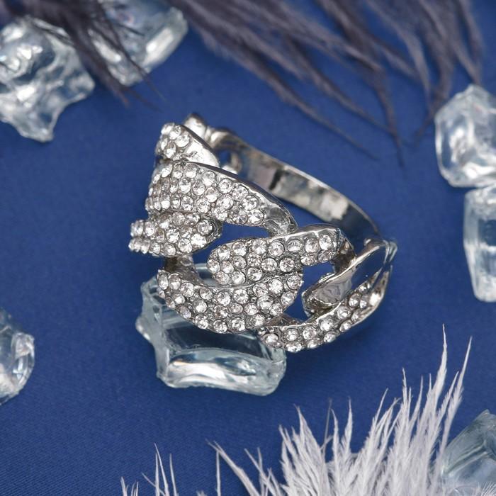"""Кольцо """"Сплетение"""", цвет белый в серебре, размер 16,17,18 МИКС"""