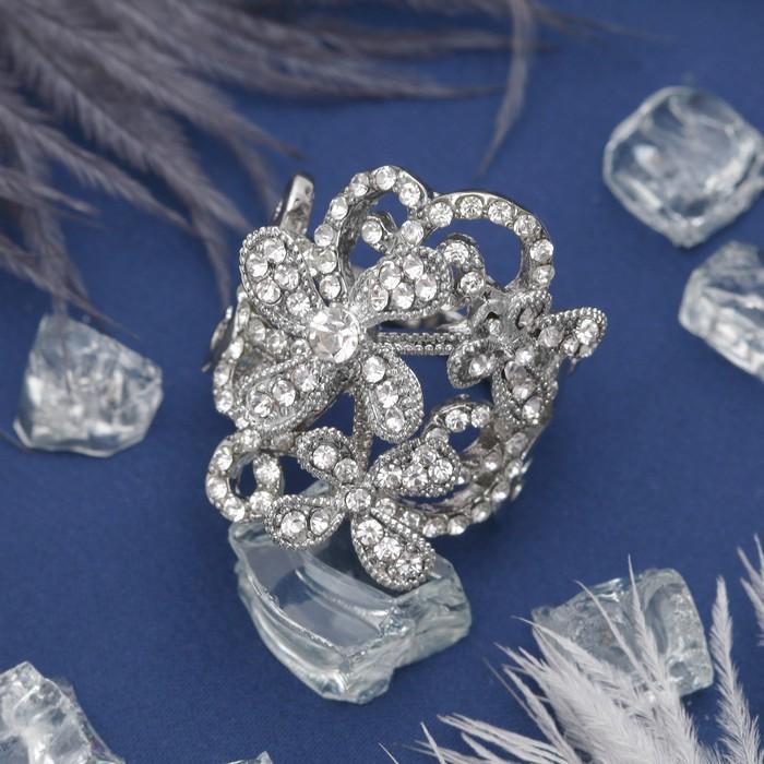 """Кольцо """"Букет роскоши"""", цвет белый в серебре, размер 16,17,18 МИКС"""