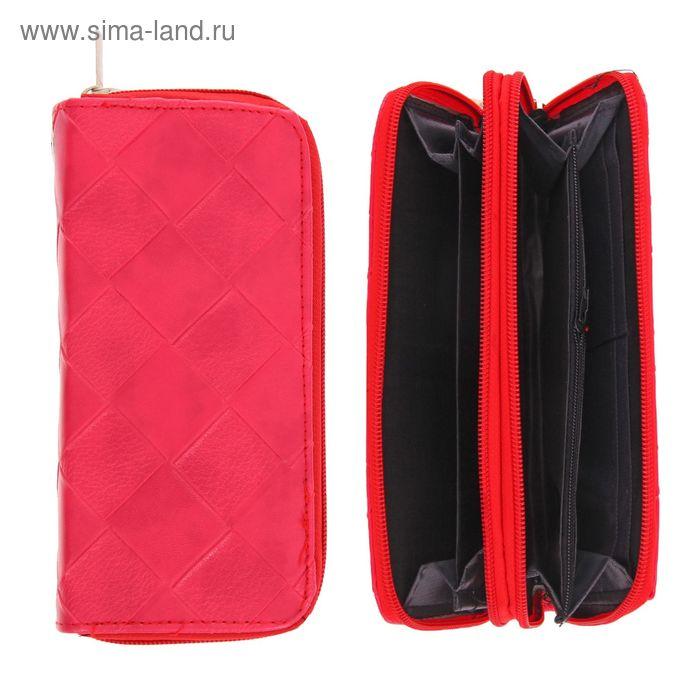 """Кошелек женский """"Ромбы"""", 5 отделов, отдел для кредиток, на 2 молниях, с ручкой лакированный, цвет красный"""