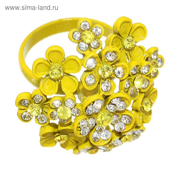 "Кольцо ""Летний блюз"", цвет жёлто-белый, размер МИКС"