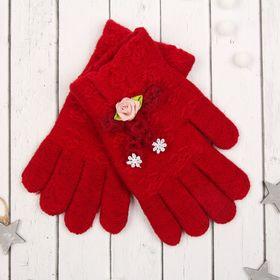"""Перчатки молодёжные """"Розочка"""", размер 20, цвет бордовый, аппликация МИКС 65576"""