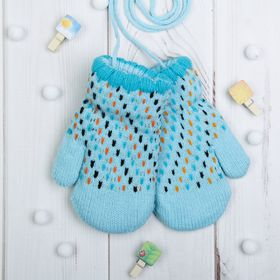 """Варежки детские """"Детство"""", размер 14, цвет голубой 65542"""