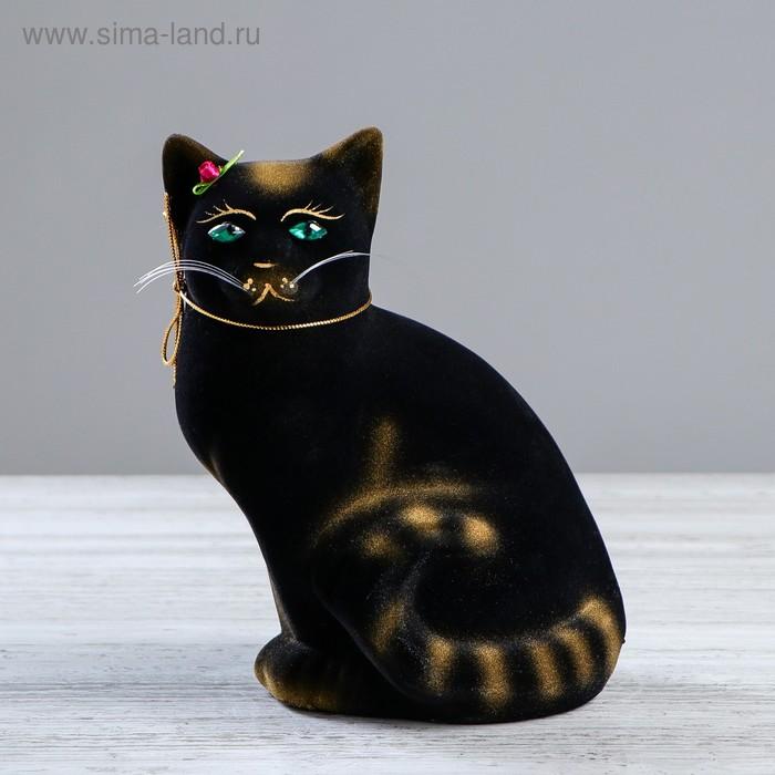 """Копилка """"Кошка Мурка"""" флок, чёрная, задувка золото"""