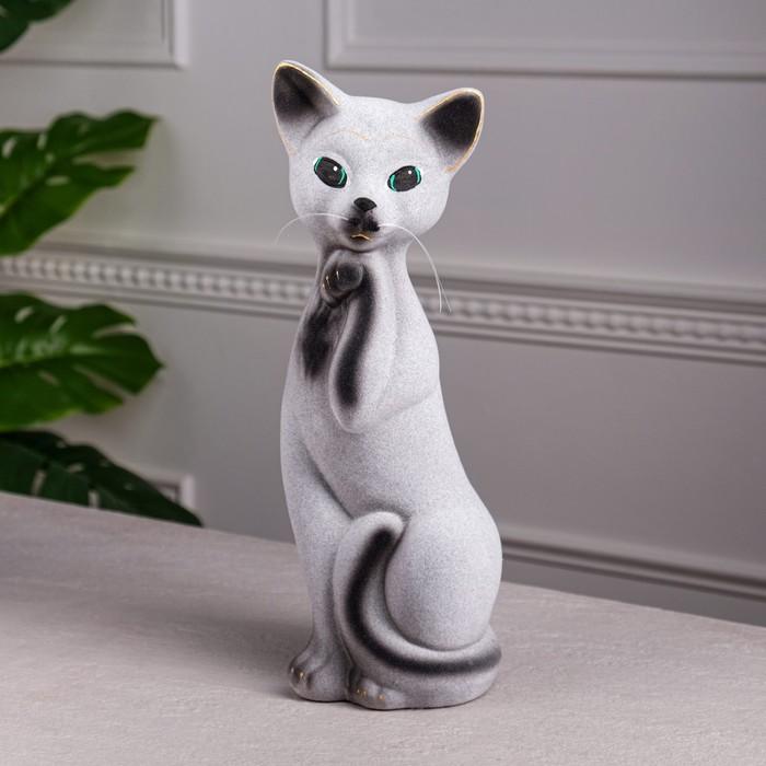 "Копилка ""Кошка Алиса"" средняя, флок, серо-чёрная"