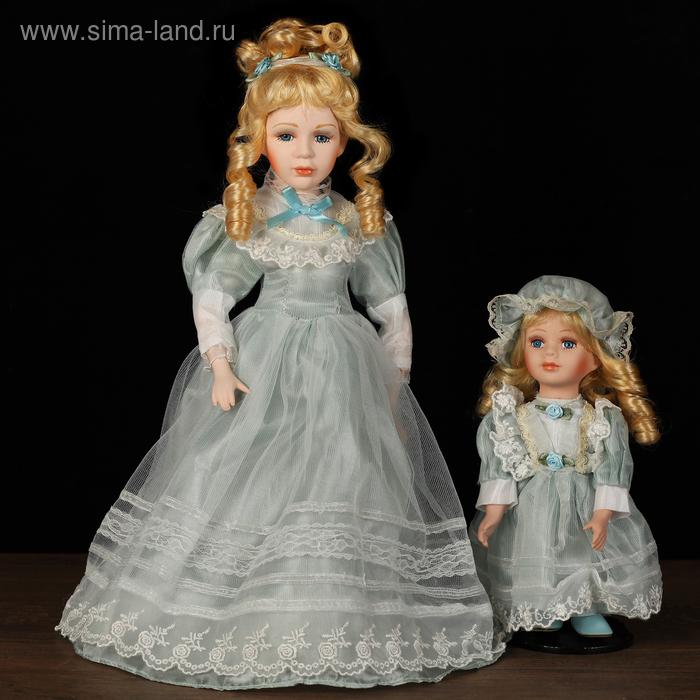 """Кукла коллекционная """"Мама с дочкой в голубом платье"""" 40 и 23 см"""