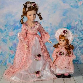 """Кукла коллекционная """"Мама с дочкой в кремовом платье"""" 40 и 23 см"""