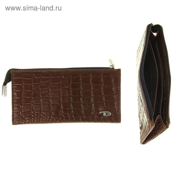 Кошелёк женский на молнии, 3 отдела, отдел для карт, 1 наружный карман, коричневый крокодил