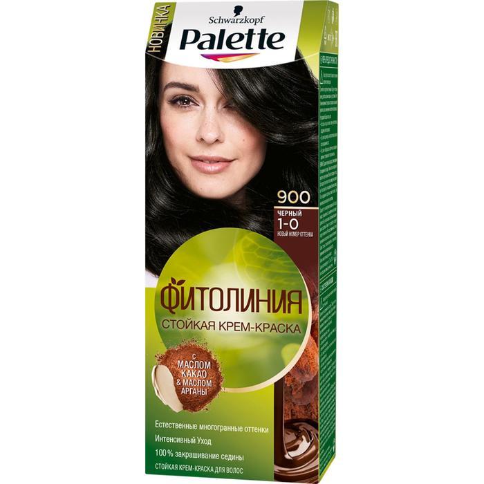 """Cтойкая крем-краска для волос Palette Фитолиния """"Чёрный 900"""", 50 мл"""