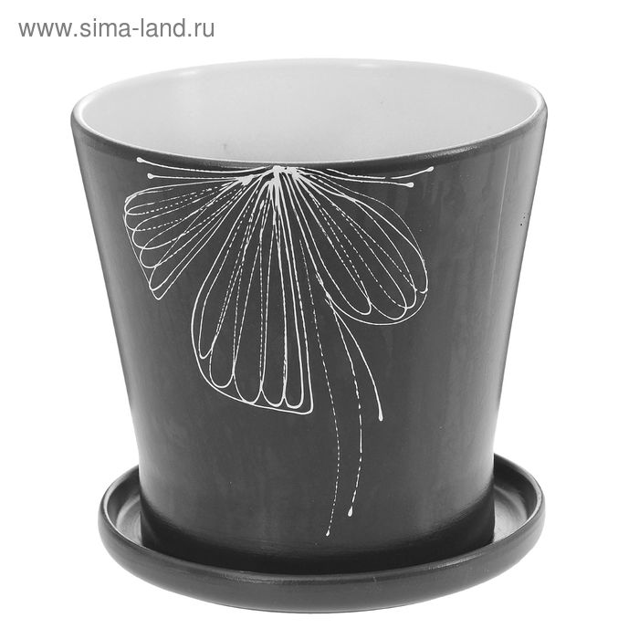 """Кашпо """"Ажурный цветок"""" чёрное 5,3 л"""