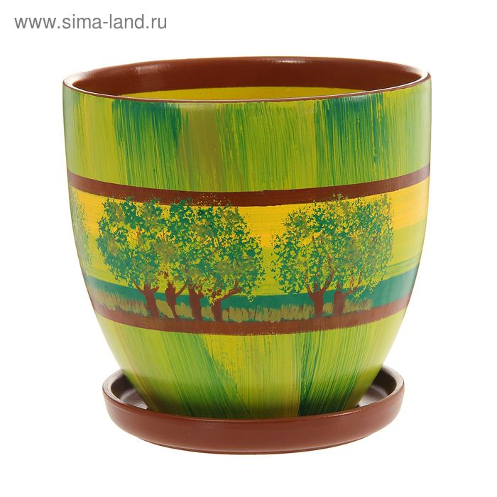 """Кашпо """"Август"""" зелёное, деревья 4,7 л"""