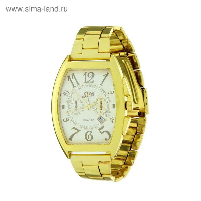 Часы мужские наручные, на золотом браслете, имитация хронографа