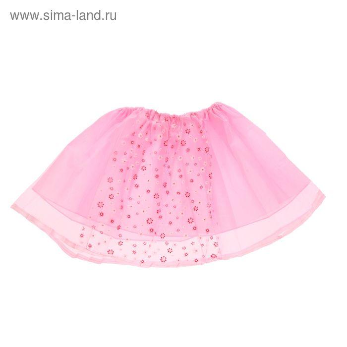 """Карнавальная юбка """"Модница"""" в цветочек 4-6 лет, цвет розовый"""