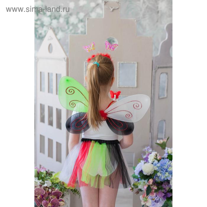 """Карнавальный набор """"Лесная бабочка"""", 4 предмета: юбка, крылья, ободок, жезл, 3-4 года"""