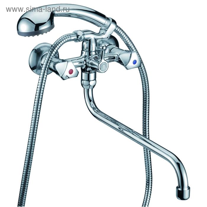 Смеситель для ванны и душа Milardo, излив 300 мм, двухрычажный, душевая лейка и шланг
