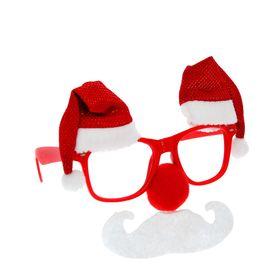 """Карнавальные очки """"Новогодний праздник"""" с красным носом"""