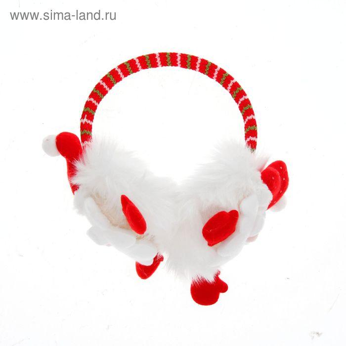 """Ободок - наушник """"Дед мороз"""" с ручками"""