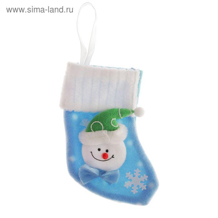 "Носок для подарка ""Снеговик со снежинкой"" (голубой)"