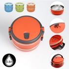 Ланч-бокс «Свежесть» (внутри металл), 2 тарелки по 0.5 л, цвета микс