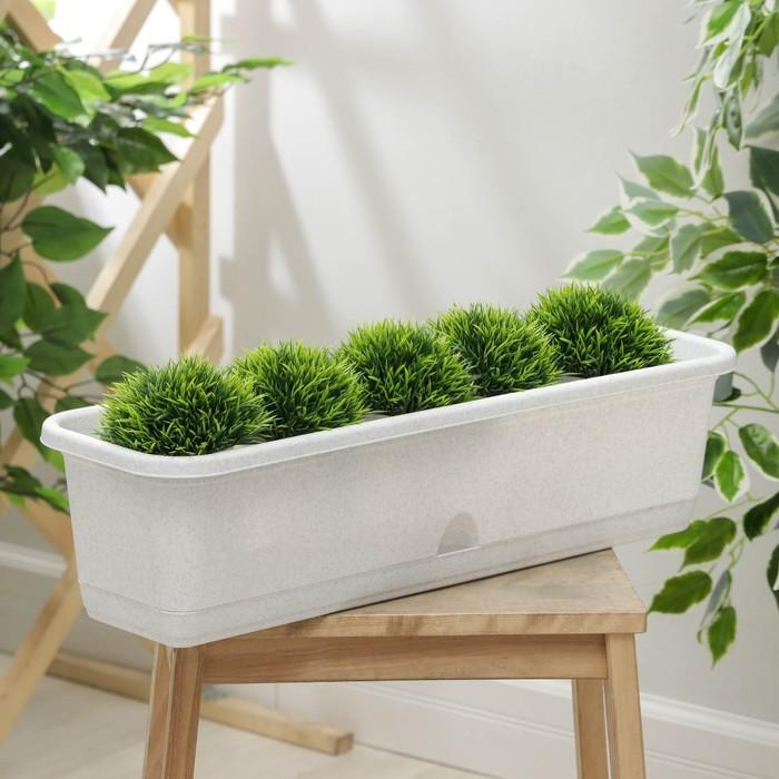Балконный ящик 60 см с поддоном, цвет мраморный