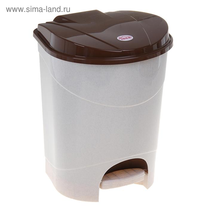 Контейнер для мусора 19 л с педалью, цвет бежевый мрамор