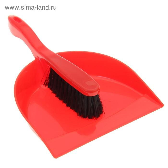 """Щетка-сметка с совком """"Идеал"""", цвет красный"""