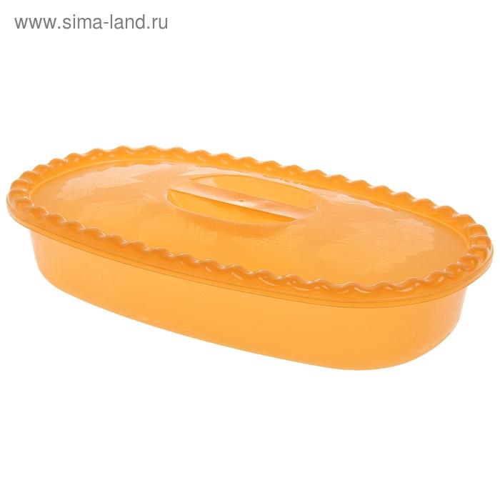Миска 2,7 л прямоугольная с крышкой, цвет оранжевый