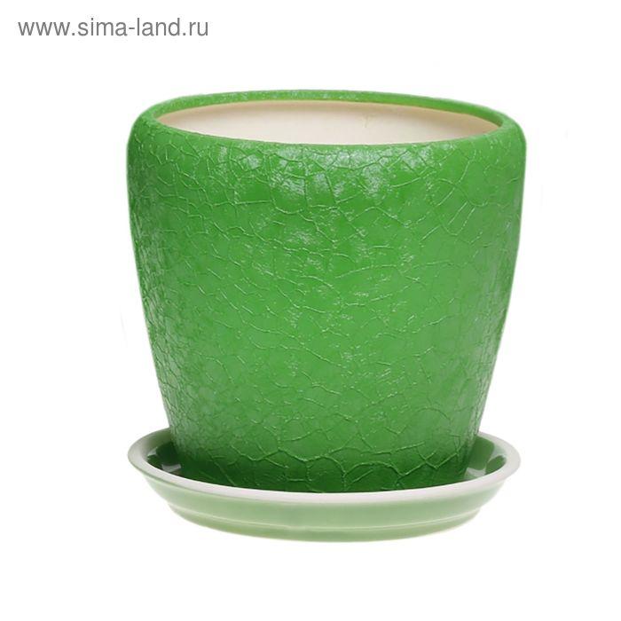 """Кашпо """"Грация"""" шёлк, зелёное, 4,5 л"""