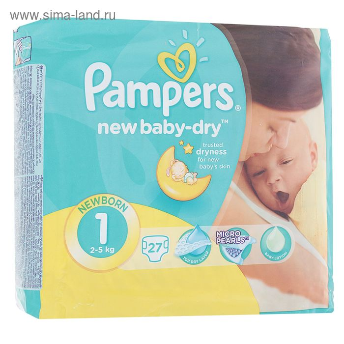 Подгузники Pampers New Baby-dry, New Born 1 (2-5 кг), 27 шт.
