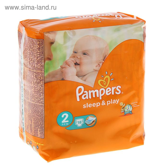 Подгузники «Pampers» Sleep&Play, Mini, 3-6 кг, 18 шт/уп