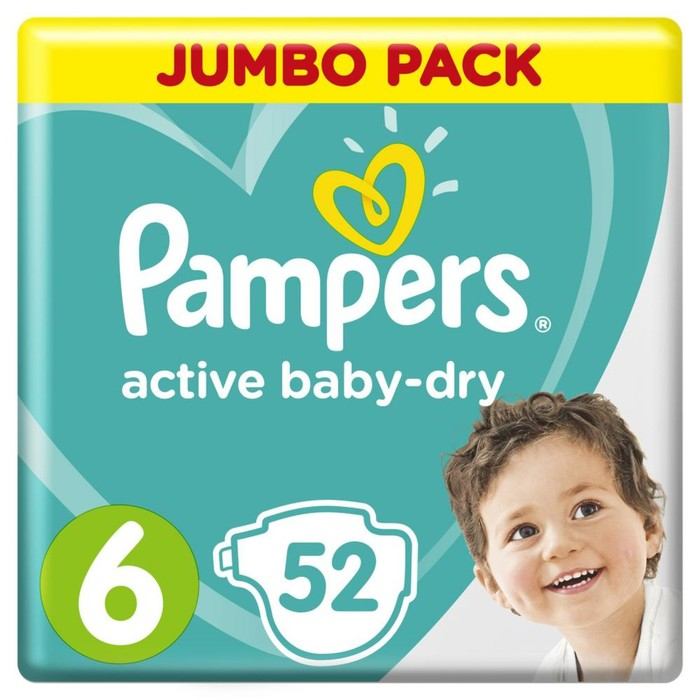 Подгузники «Pampers» Active Baby-dry, Extra Large, от 15 кг, 54 шт/уп
