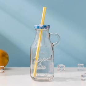 Бутыль 200 мл с ручкой и крышкой под трубочку, цвет МИКС Ош