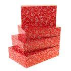 """Набор коробок 4в1 """"Сердечки на красном"""", 30 х 20 х 8 - 24 х 14 х 5 см"""