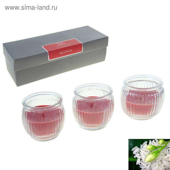 "Набор свечей SILVER ""Асти"" Рис и травы, 3х70 мл"