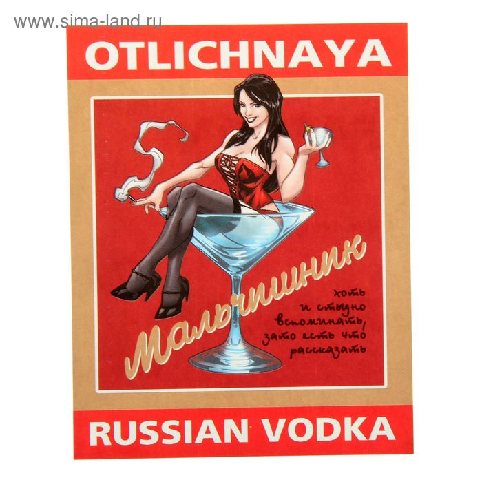 "Наклейка на бутылку ""Водка Мальчишник"" уп. 20 шт. (94х117)"