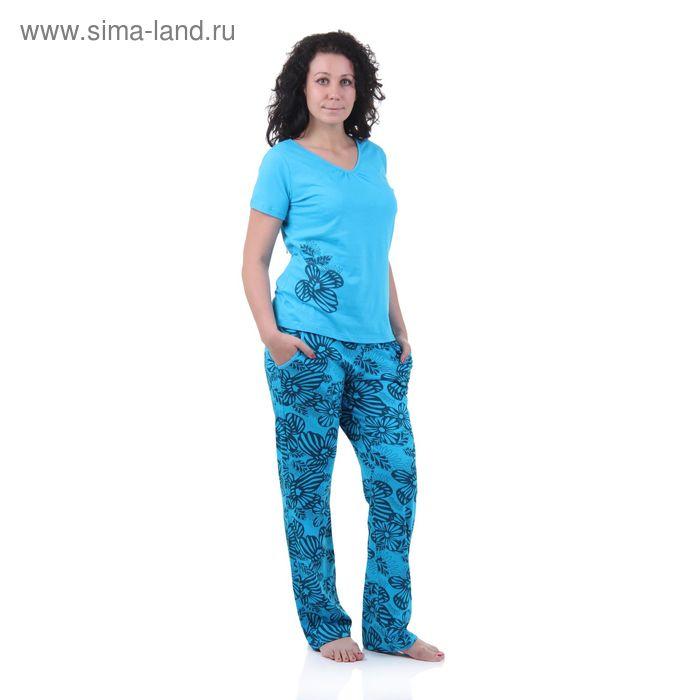 Пижама женская (футболка, брюки) 5513 ульяна/прохлада/опал, р-р 46 рост 158,164
