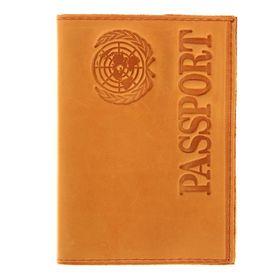 Обложка для паспорта, тиснение, жёлтая