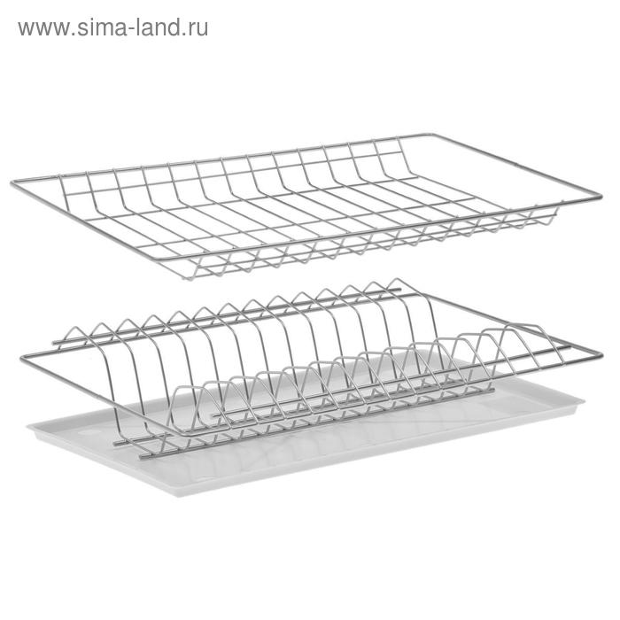 Комплект посудосушителей 41,5х25,6 см с поддоном, для шкафа 45 см, цвет хром