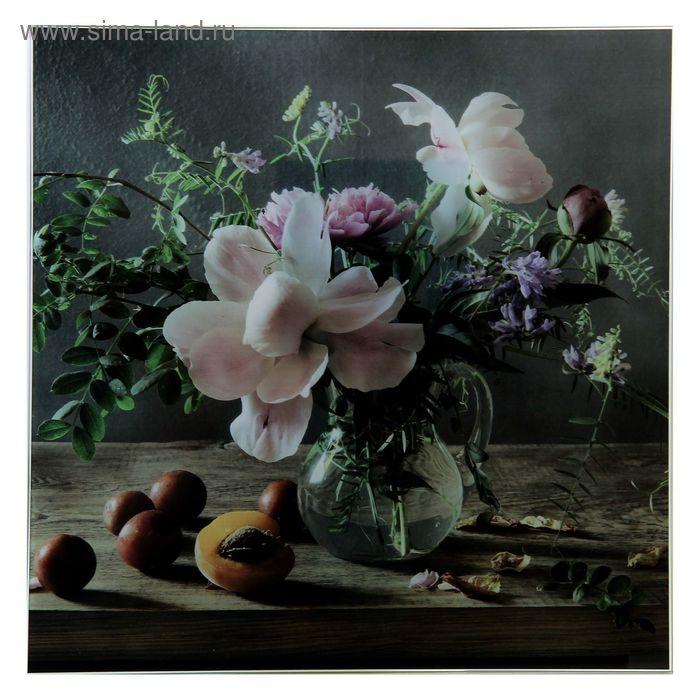 "Картина на стекле ""Цветы и абрикос"""