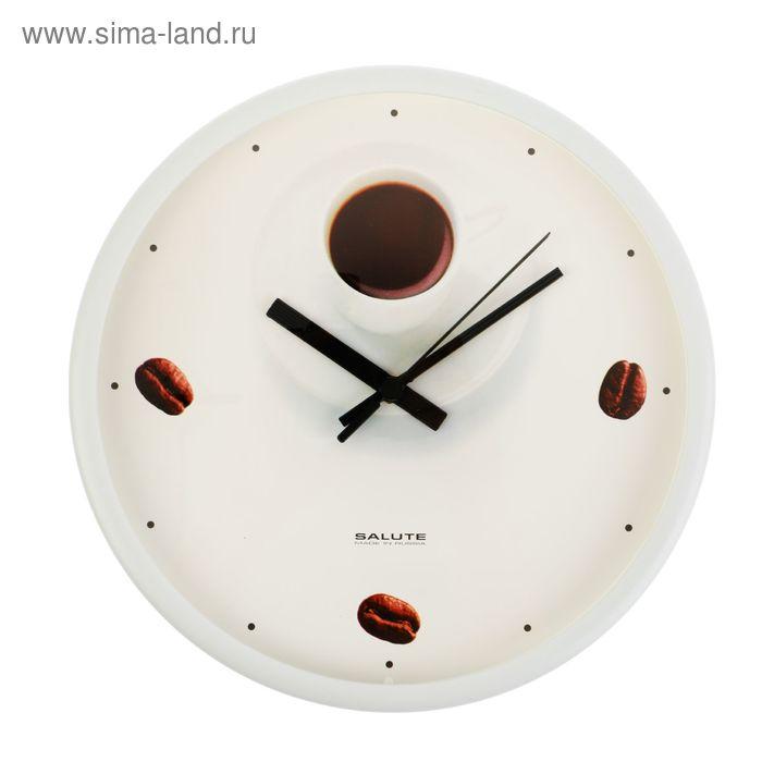 """Часы настенные круглые """"Кофе и зерна"""", белый обод, 26х26 см"""