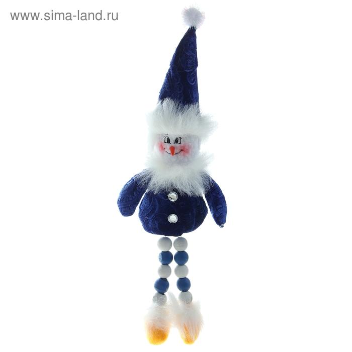 """Мягкая игрушка """"Снеговик"""" синие и белые бусины"""