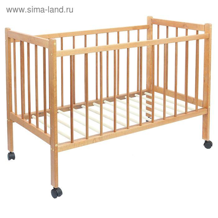Детская кроватка «Колибри» на колёсах, цвет орех