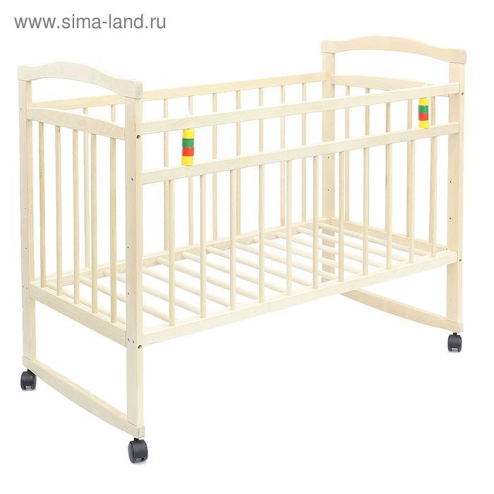 Детская кроватка «Колибри Эко-3» на колёсах или качалке, цвет берёза