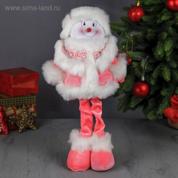 """Мягкая игрушка """"Снеговик в розовом"""" (белые кружева)"""