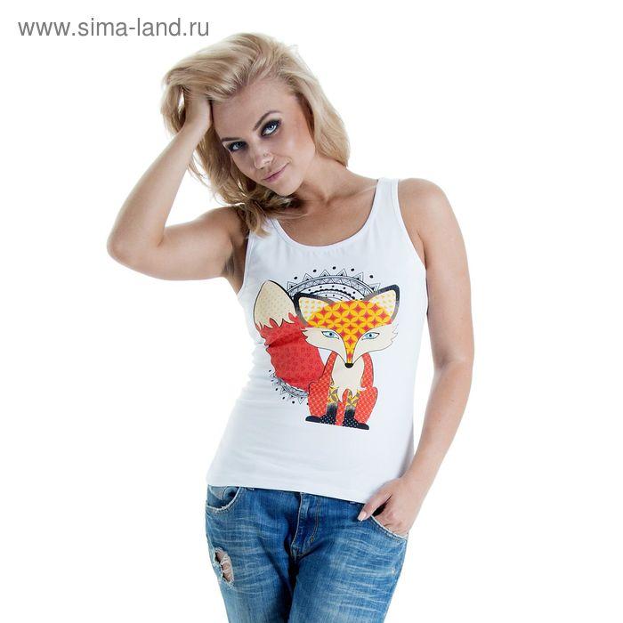 """Майка женская Collorista """"Лиса"""", размер L (48), цвет белый"""