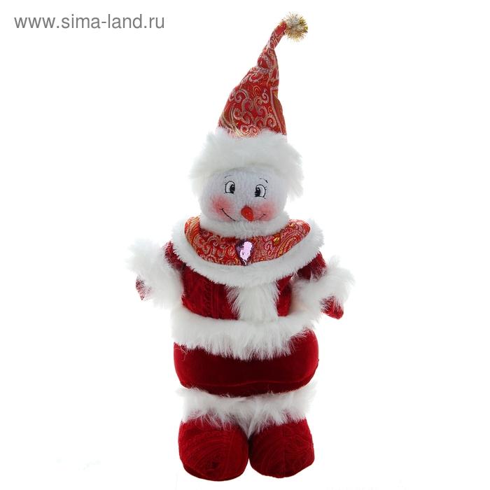 """Мягкая игрушка """"Снеговик в ярко-красном костюме"""""""