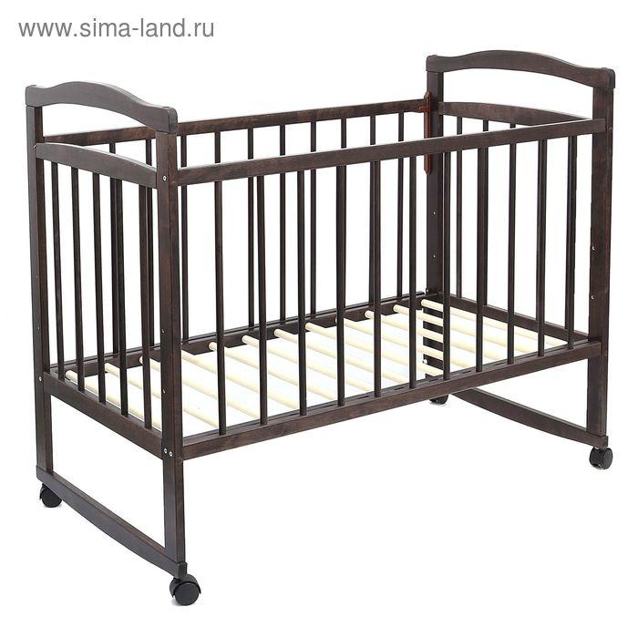 Детская кроватка «Колибри Эко-4» на колёсах или качалке, цвет венге