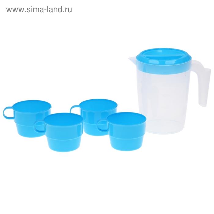 Набор питьевой: кувшин 1 л, 4 кружки 150 мл, 16х11х15 см