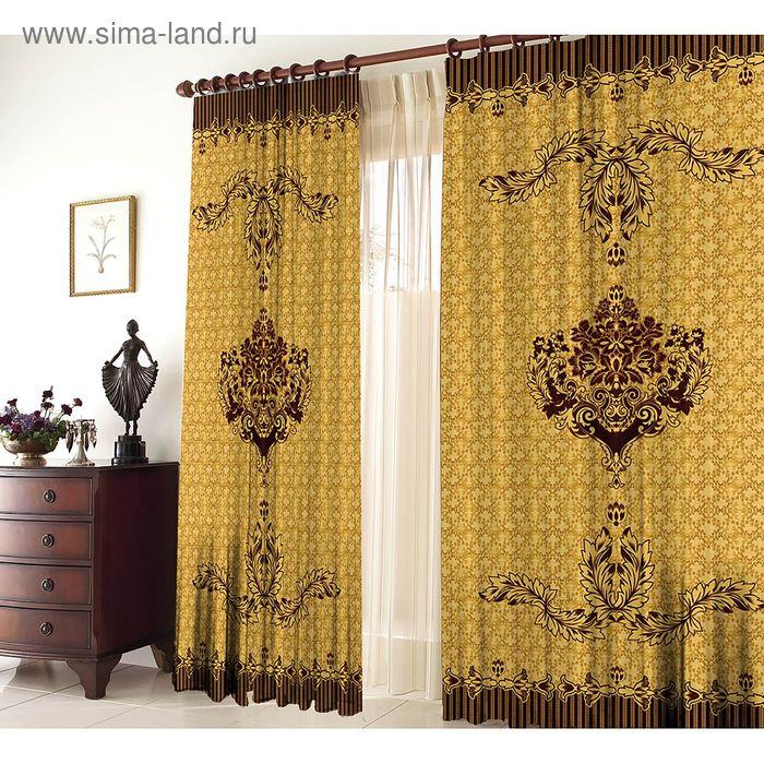 """Комплект штор """"Рапсодия"""", ширина 145 см, высота 270 см +/-5 см-2 шт., цвет золотой"""